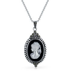 .925 Silver Black Agate MOP Vintage Cameo Pendant Necklace ($45) ❤ liked on Polyvore featuring jewelry, necklaces, necklaces pendants, white, cameo pendant, vintage jewellery, white agate necklace, dangle necklace and agate necklace