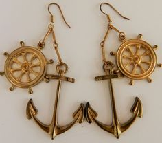 Vintage 80s Nautical Statement Earrings Anchor Ship Wheel Brass Dangle Drop 3""