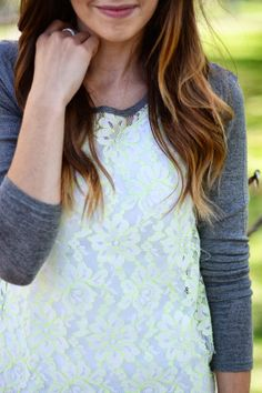 Neon and White Lace Top