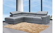 Sofá chaise longue a la izquierda reclinable en piel grabada gris