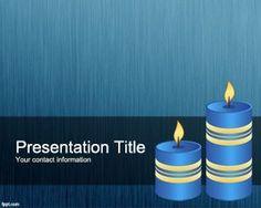 Albastru Lumanari PowerPoint Template PPT Template