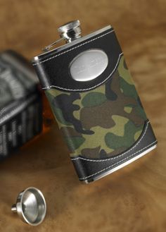 Personalized Green Camo Flask from Wedding Favors Unlimited