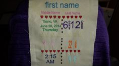 Embroidered Subway Art Birth Announcement by MindysNeedleArt