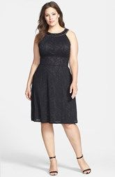 Donna Ricco Embellished Neck Textured Knit Dress (Plus Size)