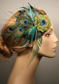 CHLOE peacock fascinator mini top hat by ORNENT on Etsy