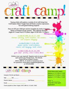 Queenie Eileenie: Announcing Summer Craft Camp and Artie Partie!
