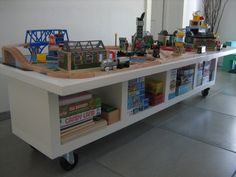 ikea lack shelf with hollow door on top = train table!