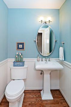 Custom Cool Turquoise Blue Powder Room By Kitsap Kitchen Bath