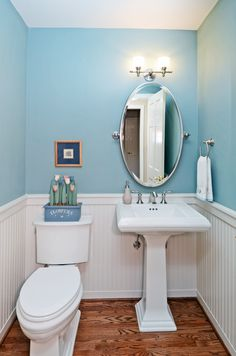 Powder room on pinterest 18 pins for Powder blue bathroom ideas