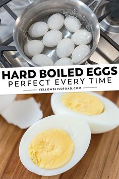 Learn how to make hard boiled eggs in just a few simple steps. Get those perfectly firm whites and creamy yellow centers every time you boil eggs! via boiled Eggs Hard Boiled Eggs (How to Boil Eggs) Perfect Hard Boiled Eggs, Perfect Eggs, Perfect Deviled Eggs, Slow Cooking, Cooking Recipes, Cooking Light, Healthy Recipes, Creme Caramel, Making Hard Boiled Eggs