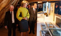 Queen Mathilde of Belgium wore this architectural top for the 'King Albert I and the Great War' exhibition and the presentation of the book 'Albert and Elisabeth', on November 8, 2016, at Rumbeke Castle.