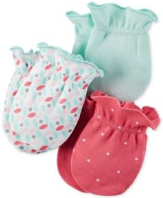 Carter's Baby Girls' Hello Cutie 3-Pack Mitts