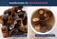 Mushrooms for Hot and Sour Soup - dried shiitake mushrooms and wood ear mushrooms Chinese Vegetables, Roasted Vegetables, Chinese Corn Soup, Chinese Food, Sweet And Sour Soup, Mushroom Benefits, Calamari Recipes, Mushroom Soup Recipes, Recipetin Eats