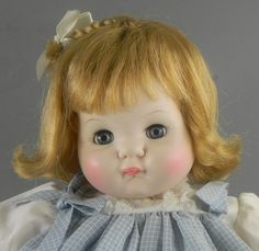 """~Carly's 1st Madame Alexander doll was """"Puddin""""~  this Doll Tagged Dress 1965, which is 30yrs older than Carly's, and in blue checks instead of pink..."""
