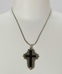 Look at this #zulilyfind! Black Cross Pendant Necklace #zulilyfinds