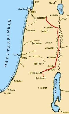 Map Of Journey Of Mary And Joseph From Nazareth To Bethlehem Is About 70 Miles As The Crown Flies But Walking It Through Widing Mountain Trails Is More L...