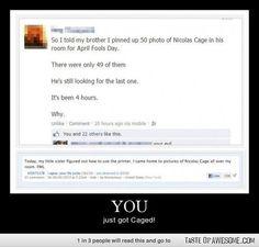 Nicolas cage April fools day joke