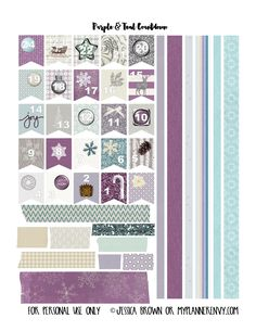 Purple and Teal Christmas Countdown Banner Flags and Washi