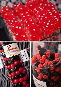 """Dessert Table Goodies,Turning 40 should be a blast if you can celebrate in true """"Las Vegas"""" fashion like this modern Casino themed 40th Birthday Party! Brittany of GreyGrey Designs was the fabulous designer behind this classic, yet stylish Casino birthday party. I love the eye-catching, ostrich feathers. They are totally """"Las Vegas"""" and a wonderful way to add height to the dessert table."""