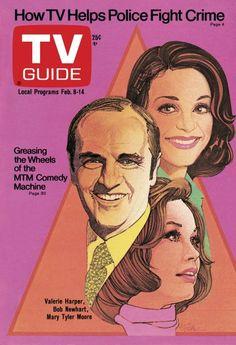 TV Guide February 8, 1975 - Valerie Harper, Bob Newhart and Mary Tyler Moore.  Illustration by Bob Peak