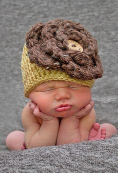 Baby Crochet Hat Baby Girl Hat Big Flower Newborn Hat Photography Prop. $25.00, via Etsy.