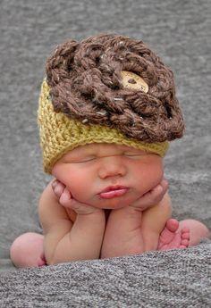 Baby Crochet Hat Baby Girl Hat Big Flower Newborn Hat Photography Prop. $25.00, via Etsy.
