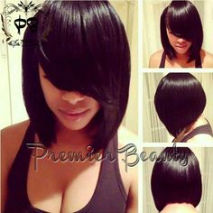 FreeShipping human hair short bob wig Natural Black 100% human hair left side bangs straight hair Glueless Lace Front wig and full lace wigs