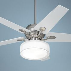 "52"" Casa Optima Steel Ceiling Fan Drum Shade Light 
