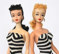 """Original Vintage Barbie dolls, 1960  I had one, the black hair one, with the patent leather case. My mom made all her clothes for me. Much cheaper that way plus they were """"one of a kind"""""""