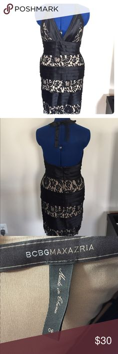 BCBG Max Azria LBD with sheer illusion lace. Sz 6 Sexy LBD with halter tie and sheer illusion lace. Perfect for a night out. Size 6, BCBG Max Azria.  Worn twice, no issues. BCBGMaxAzria Dresses