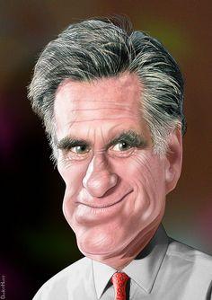 Mitt Romney - Caricature by DonkeyHotey, via Flickr