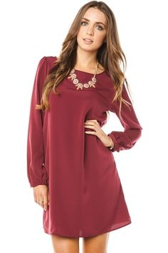 ShopSosie Style : Middleway Shift Dress in Burgundy
