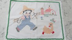 VINTAGE 1950's Era White Cotton Baby Child's Farm Scene Pillowcase with Rick Rack by PrimaMona on Etsy