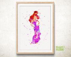 Disney Hercules Princess Megara Watercolor Art by MarcoFriend