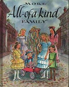 More All-of-a-kind Family by Sydney Taylor.  The illustrations in this book haunted my childhood.  Scary.