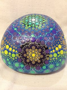 Blue, Green, Yellow, and Purple Hand Painted Stone Mandala Style