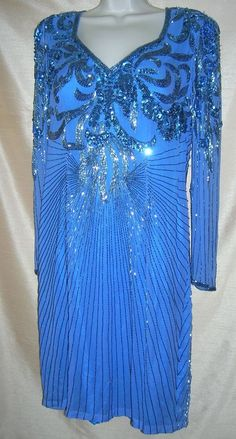 Size 14 Beaded Dress  Royal Blue with Beads, Sequins and Seed Pearls  Show Stopp