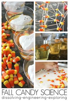 Fall Dissolving Candy Corn STEM Activities Kitchen Science. Build candy corn structures and test out candy corn non-newtonian fluids for science and tactile sensory play! Great Fall and Halloween activity using leftover candy!