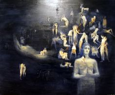 Dream scape with many figures caught in situations reminicient of tales of erotica. Flesh coloured and translucent bodies hover on a night sky blue foundation. Maker Ms Pick, Seraphine 1998 Made New Zealand Oil on Canvas Blue Foundation, Monochromatic Color Scheme, Colour Schemes, Space Junk, Whiskers On Kittens, Nz Art, Artist Painting, Erotica, Oil On Canvas
