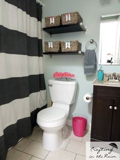 Small Bathroom Ideas | Crafting in the Rain ** Horizontal stripe for shower curtain