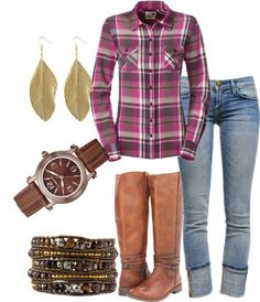 """Flannel for Fall"" by Catherine Anderson on Polyvore"