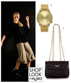 Preto e dourado, nunca falha! 1- Trousers HEKISA (https://mykubo.com/brand/198/product/455) 2- Relógio Pop the Bubble store (https://mykubo.com/brand/130/product/164) 3- Mala Guess (https://mykubo.com/brand/9/product/1104)
