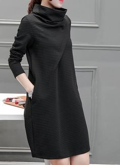 Polyester Solid Long Sleeve Knee-Length Casual Dresses (1032998) @ floryday.com