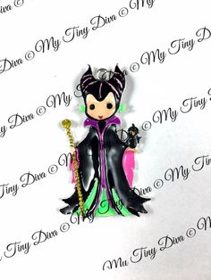 """ON SALE 55mm """"Maleficent"""" Most Evil villain MTD Exclusive- chunky necklace-bubblegum beads- Diy Chunky necklace -rhinestone pendant - $4.25 USD"""
