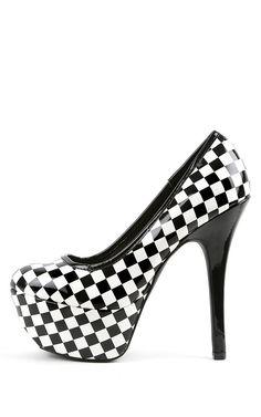 Qupid Psyche-49 Checkered Pumps BLACK WHITE