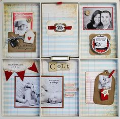 all the stamps, cardstock, envelope, ribbon and dies are papertrey.  ledger paper is from girls paperie.  there is a pull out mini album in the middle upper space.  and the locket has a small pic in it.   http://www.millers-ink.net/2011/06/papertrey-and-7-gypsies-photo-tray-for.html
