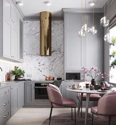 "9,996 Likes, 264 Comments - Ashley Stark Kenner (@ashleytstark) on Instagram: ""Monday morning breakfast time. Loving the pale grey paired with the dusty pink via @contourinterior…"""