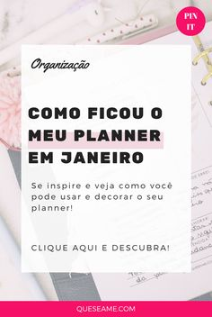 Meu Planner em Janeiro Pin It, Check Up, Fotos Do Instagram, Planner, Boarding Pass, January, Day Planners