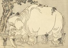 """""""Blind persons exploring an elephant"""", Katsushika Hokusai (1760-1849) - based on the Buddhist parabola about the relativity of the truth. """"O how they cling and wrangle, some who claim For preacher and monk the honored name! For, quarreling, each to his view they cling. Such folk see only one side of a thing."""" Buddha."""