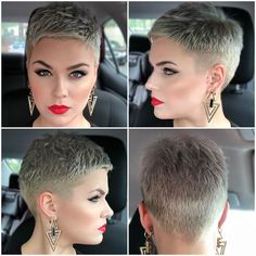 Here is a little pixie 360 of my new cut ♥️ Have you … Happy hump day babes! Here is a little pixie 360 of my new cut ♥️ Have you watched my new video talking about my pixie? Click the link in my bio! Short Grey Hair, Very Short Hair, Short Hair Cuts For Women, Short Pixie Haircuts, Short Hairstyles For Women, Summer Hairstyles, Short Pixie Cuts, Shaved Pixie Cut, Super Short Pixie